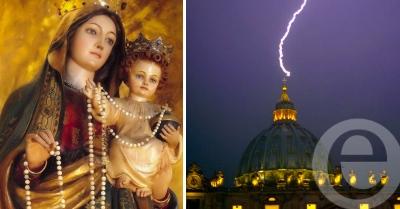 El rayo que Impactó en el Vaticano en el día de Nuestra Señora del Rosario
